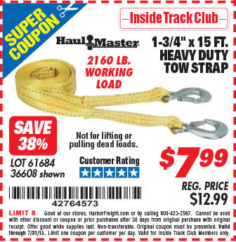 """Harbor Freight ITC Coupon 1-3/4"""" x 15 FT. HEAVY DUTY TOW STRAP Lot No"""