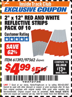 """www.hfqpdb.com - 2"""" x 12"""" RED AND WHITE REFLECTIVE STRIPS PACK OF 10 Lot No. 61392/97562"""