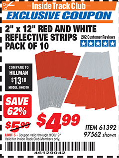 "www.hfqpdb.com - 2"" x 12"" RED AND WHITE REFLECTIVE STRIPS PACK OF 10 Lot No. 61392/97562"