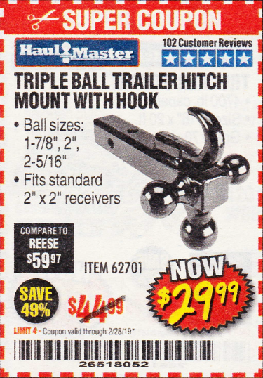 www.hfqpdb.com - TRIPLE BALL TRAILER HITCH MOUNT WITH HOOK Lot No. 62701