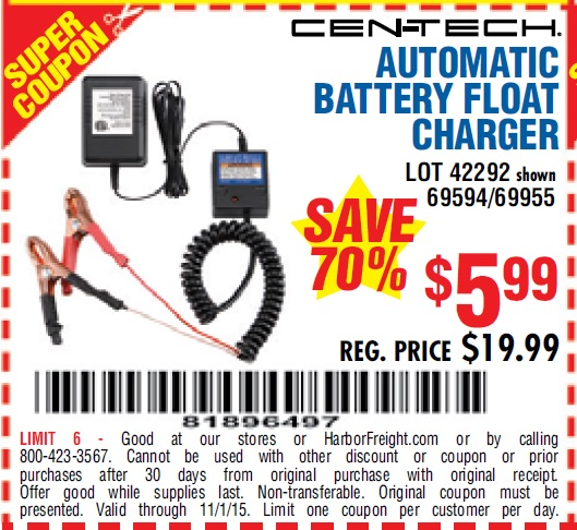 automatic battery float charger coupon