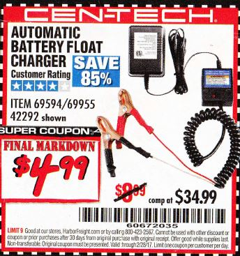 Harbor freight automatic battery float charger coupon