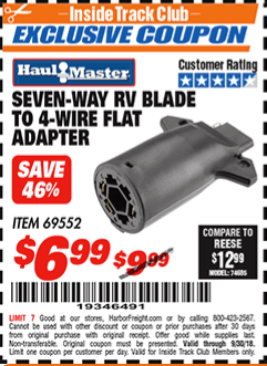 www.hfqpdb.com - SEVEN-WAY RV BLADE TO 4-WIRE FLAT ADAPTER Lot No. 69552