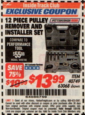 www.hfqpdb.com - 12 PIECE PULLEY REMOVER AND INSTALLER SET Lot No. 40749/63068