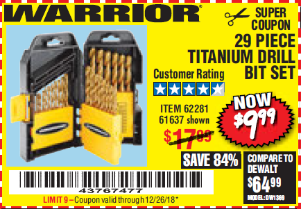 Harbor Freight 29 PIECE TITANIUM NITRIDE COATED HIGH SPEED STEEL DRILL BIT SET coupon