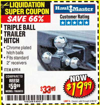 Harbor Freight TRIPLE BALL TRAILER HITCH coupon