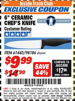 """www.hfqpdb.com - 6"""" CERAMIC CHEF'S KNIFE Lot No. 61443/98186"""