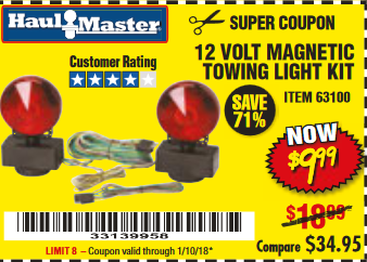 Harbor Freight 12 VOLT MAGNETIC TOWING LIGHT KIT coupon