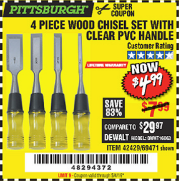 www.hfqpdb.com - 4 PIECE WOOD CHISEL SET Lot No. 42429/69471