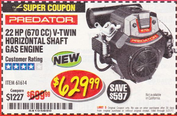 Harbor Freight 22 HP (670 CC) V-TWIN HORIZONTAL SHAFT GAS ENGINE coupon