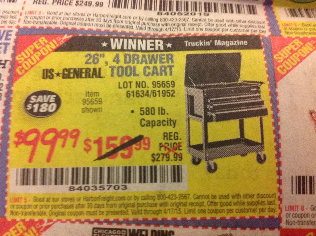 harbor freight coupon 26in 4 drawer tool cart lot no 95659 61634 61952 expires 4 17 15. Black Bedroom Furniture Sets. Home Design Ideas