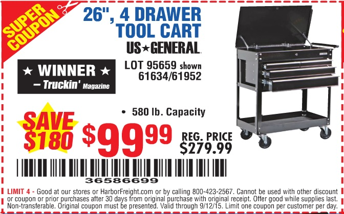 Harbor Freight 5 Drawer Tool Cart : Harbor freight tools coupon database free coupons