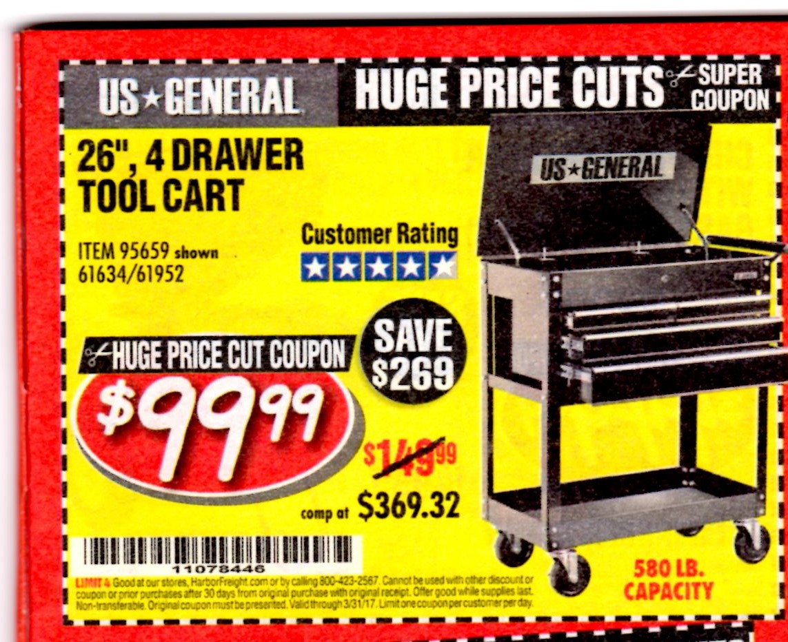 Harbor Freight Tools Coupon 44 13 Drawer Cabinet Coupon Only