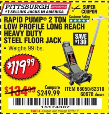 Harbor Freight RAPID PUMP 2 TON LOW PROFILE LONG REACH STEEL FLOOR JACK coupon