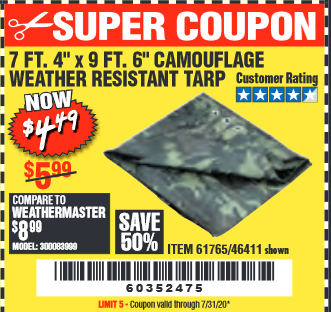 "www.hfqpdb.com - 7 FT. 4"" x 9 FT. 6"" CAMOUFLAGE ALL PURPOSE/WEATHER RESISTANT TARP Lot No. 46411/61765"