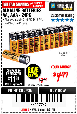 Harbor Freight ALKALINE BATTERIES coupon