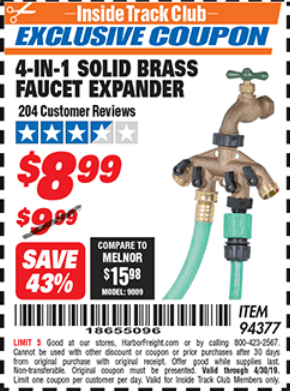 Harbor Freight 4-IN-1 SOLID BRASS FAUCET EXPANDER coupon