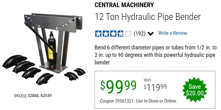 Harbor Freight 12 TON HYDRAULIC PIPE BENDER coupon