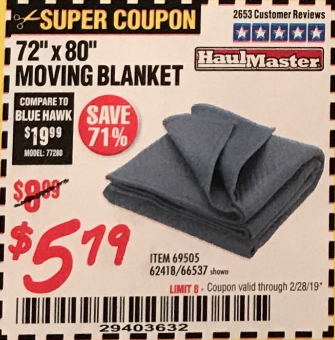 "www.hfqpdb.com - 72"" X 80"" MOVING BLANKET Lot No. 66537/69505/62418"