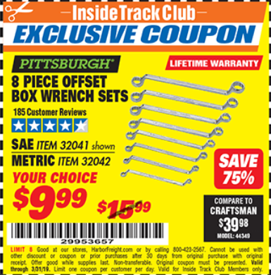Harbor Freight 8 PIECE OFFSET BOX WRENCH SETS coupon