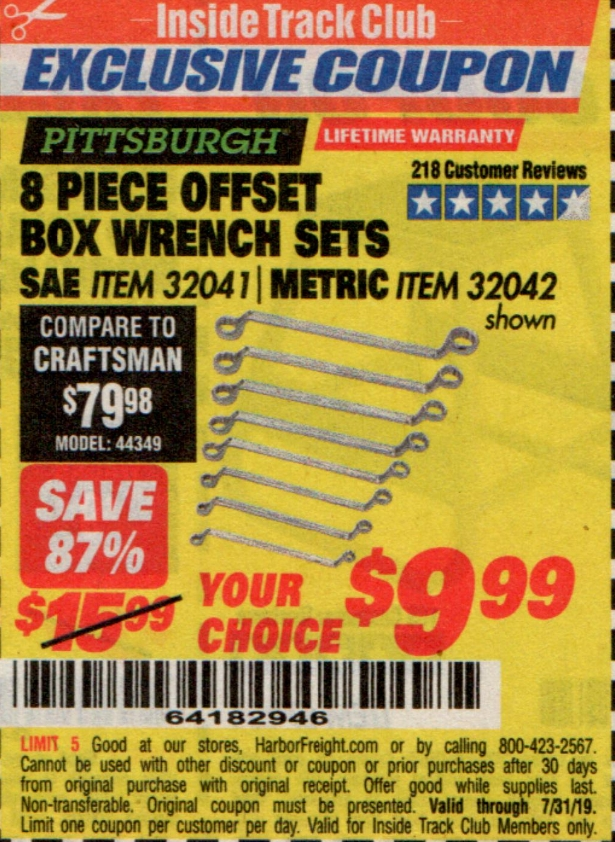 www.hfqpdb.com - 8 PIECE OFFSET BOX WRENCH SETS Lot No. 32041/32042
