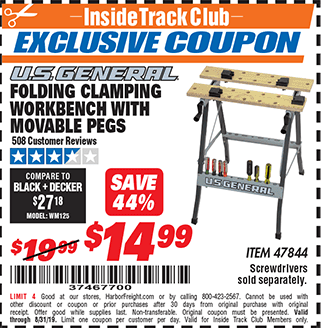Harbor Freight FOLDING CLAMPING WORKBENCH WITH MOVABLE PEGS coupon