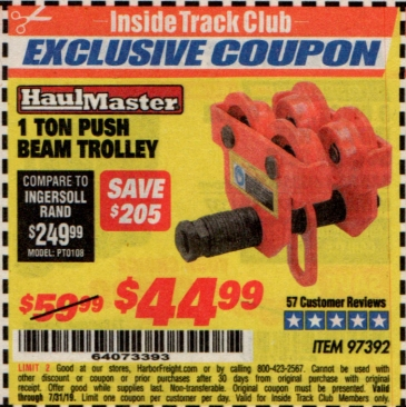 www.hfqpdb.com - 1 TON PUSH BEAM TROLLEY Lot No. 97392