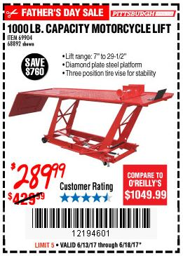 Harbor freight motorcycle table lift coupon code $299 : Wss