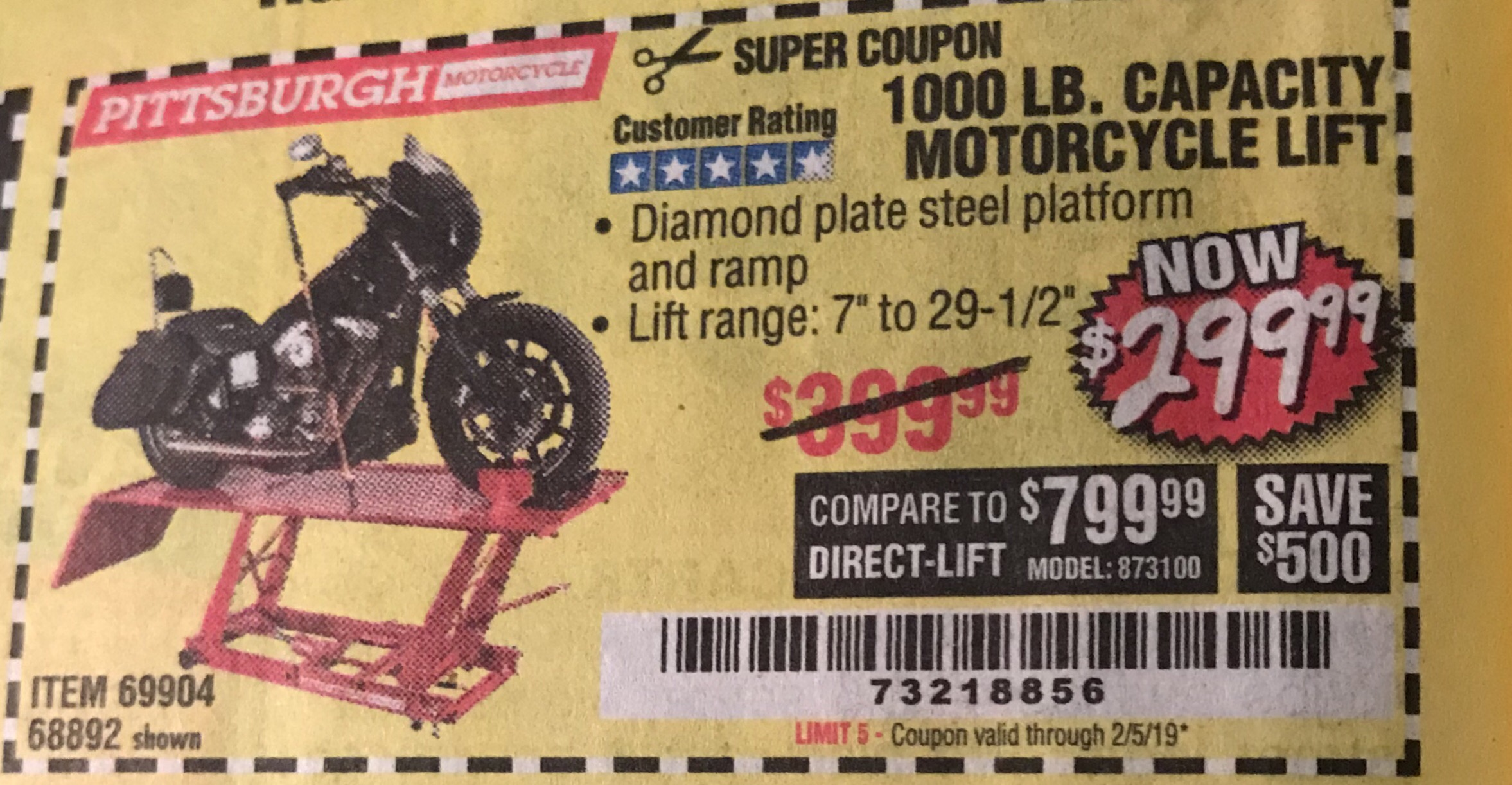 Harbor Freight 1000 LB. CAPACITY MOTORCYCLE LIFT coupon