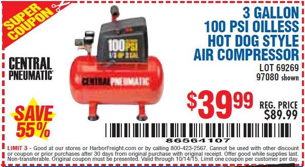 Gallon  Psi Oilless Hot Dog Style Air Compressor