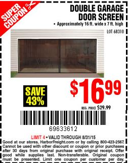 double garage door screenHarbor Freight Tools Coupon Database  Free coupons 25 percent