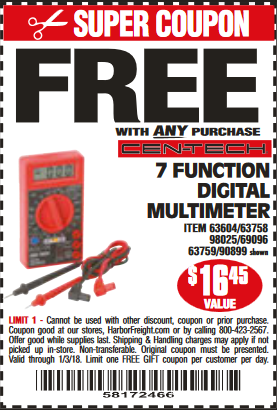 Harbor freight coupons free multimeter