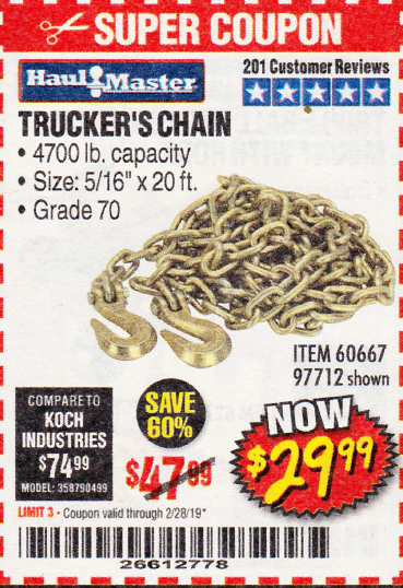 "www.hfqpdb.com - 5/16"" x 20 FT. GRADE 70 TRUCKER'S CHAIN Lot No. 60667/97712"