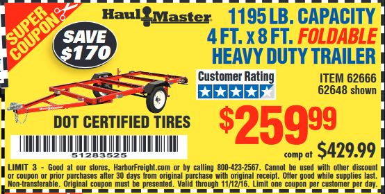 Harbor freight trailer coupon 2018