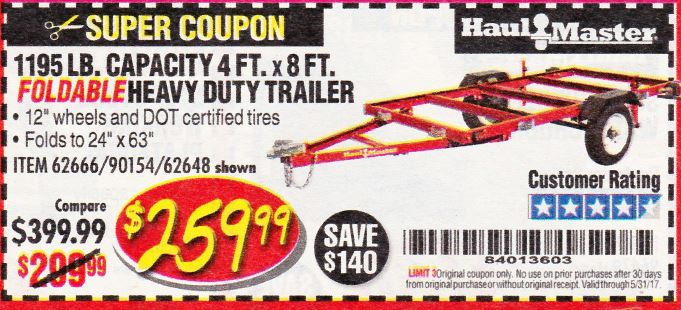Harbor Freight 1195 LB. CAPACITY 4 FT. x 8 FT. HEAVY DUTY FOLDABLE UTILITY TRAILER coupon