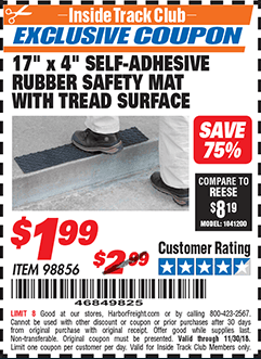 """www.hfqpdb.com - 17"""" x 4"""" SELF-ADHESIVE RUBBER SAFETY ,AT WITH TREAD SURFACE Lot No. 98856"""