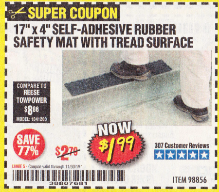 "www.hfqpdb.com - 17"" x 4"" SELF-ADHESIVE RUBBER SAFETY ,AT WITH TREAD SURFACE Lot No. 98856"