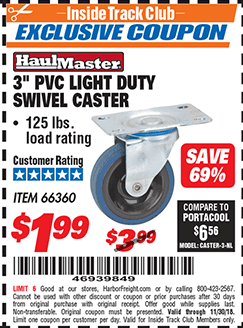 "www.hfqpdb.com - 3"" PVC LIGHT DUTY SWIVEL CASTER Lot No. 41516/66360"