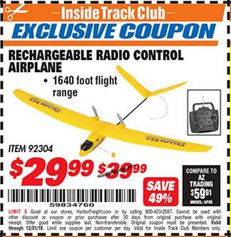 Harbor Freight RECHARGEABLE RADIO CONTROL AIRPLANE coupon