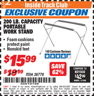 Harbor Freight PORTABLE WORK STAND coupon