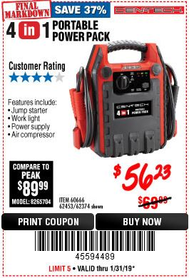 Harbor Freight 4-IN-1 JUMP STARTER WITH AIR COMPRESSOR coupon