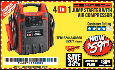 www.hfqpdb.com - 4-IN-1 JUMP STARTER WITH AIR COMPRESSOR Lot No. 60666/69401/62374/62453