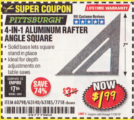 www.hfqpdb.com - 4-IN-1 ALUMINUM RAFTER ANGLE SQUARE Lot No. 7718/63140/63185