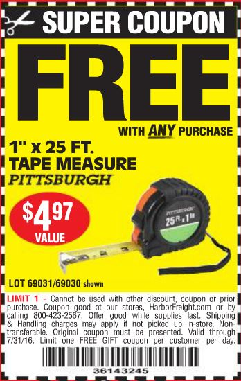 To get coupons and sales alerts via text message from Harbor Freight, text  the word TOOLS6 TOOLS7 to 222377.