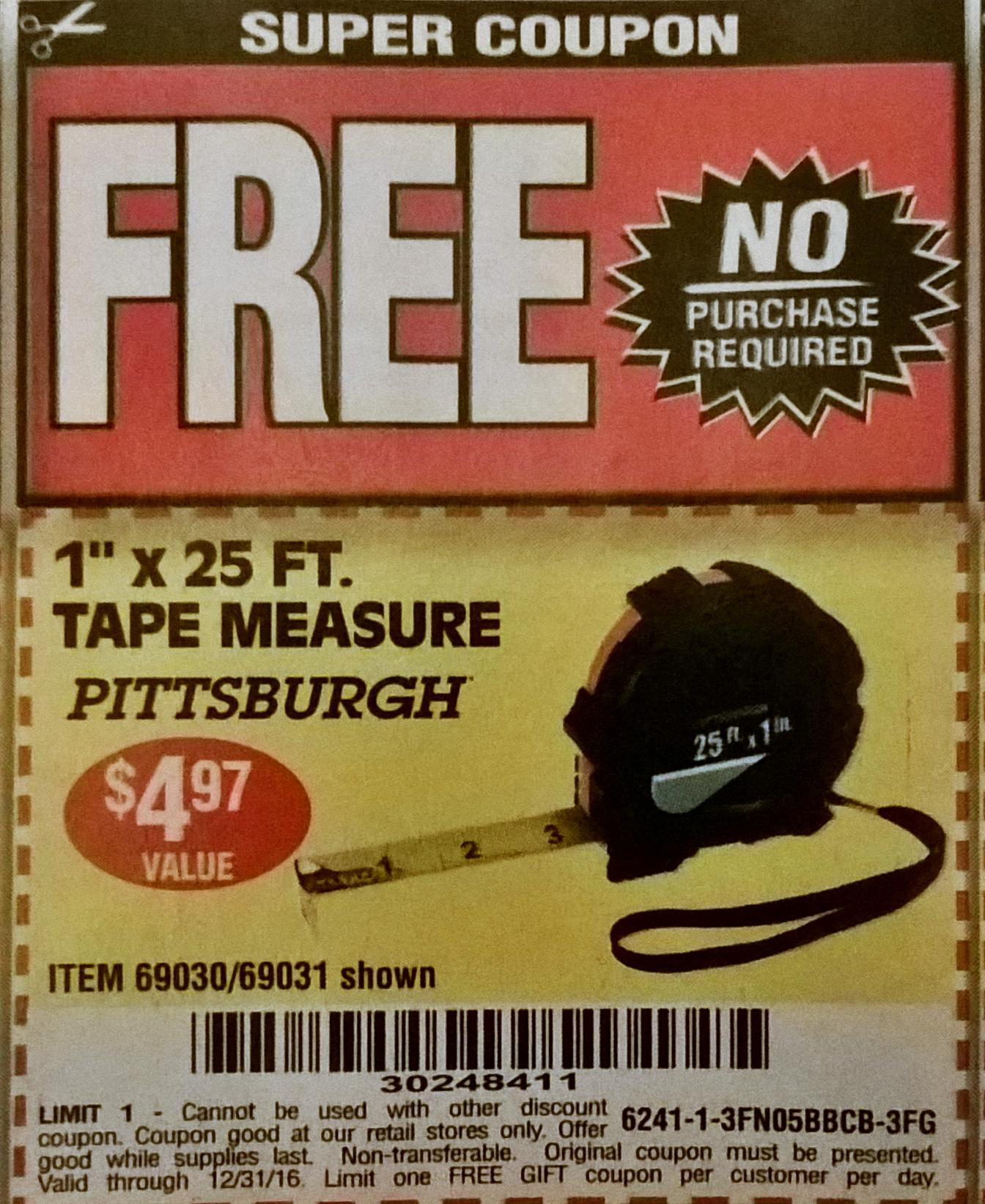 Harbor freight coupon free tape measure : Holiday gas