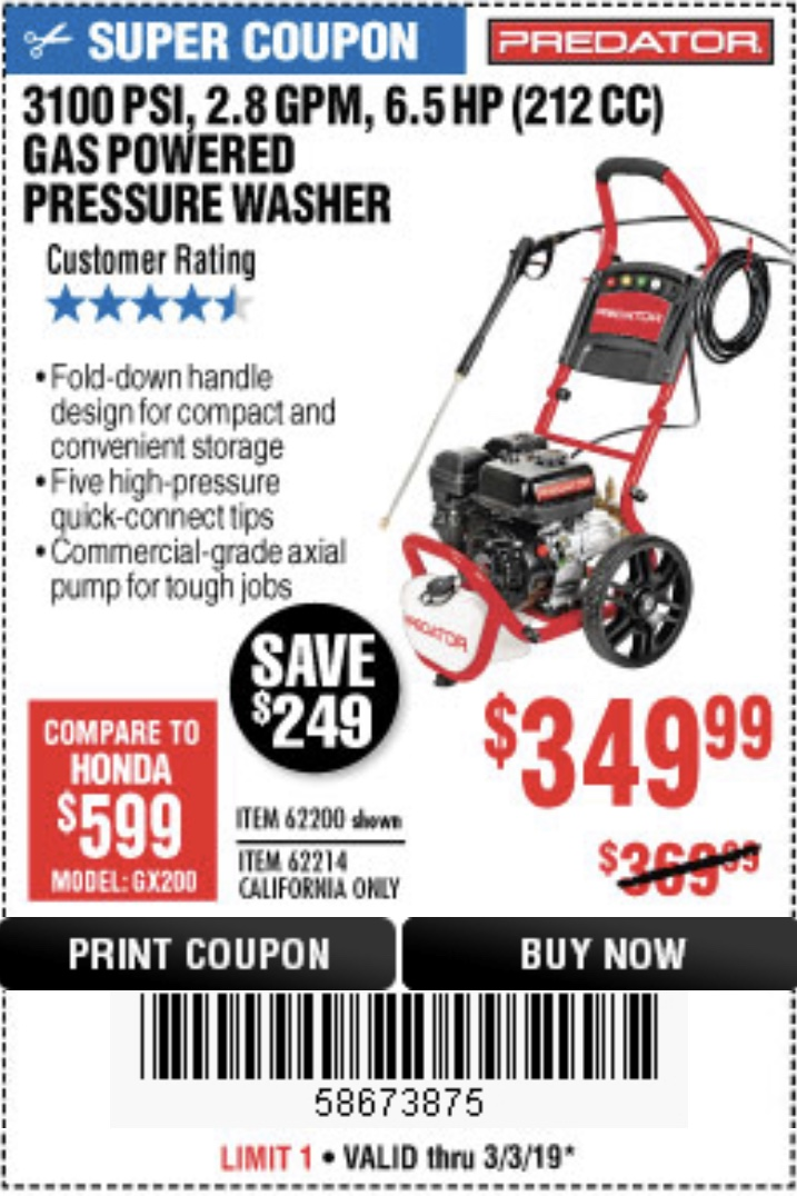 www.hfqpdb.com - 3100 PSI, 2.8 GPM 6.5 HP (212 CC) GAS POWERED PRESSURE WASHERS WITH 25 FT. HOSE Lot No. 62200/62214