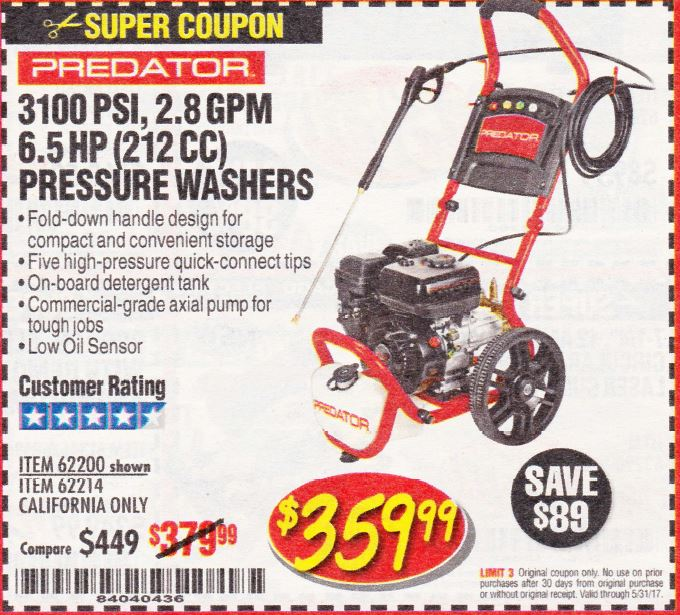 Harbor Freight 3100 PSI, 2.8 GPM 6.5 HP (212 CC) GAS POWERED PRESSURE WASHERS WITH 25 FT. HOSE coupon