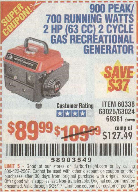 Harbor Freight 900 PEAK/700 RUNNING WATTS 2 HP (63 CC) 2 CYCLE GAS RECREATIONAL GENERATOR coupon