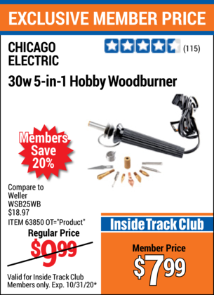 Harbor Freight 30 WATT 5 IN 1 HOBBY WOODBURNER coupon