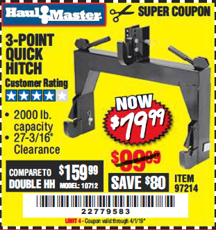 Harbor Freight 3-POINT QUICK HITCH coupon